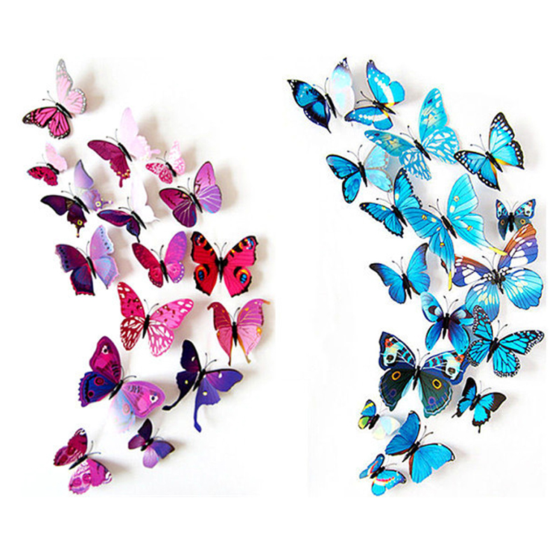 product 2016 New Gossip Girl Same Style 12pcs 3D Butterfly Wall Stickers Butterflies Decors For Home Fridage Decoration