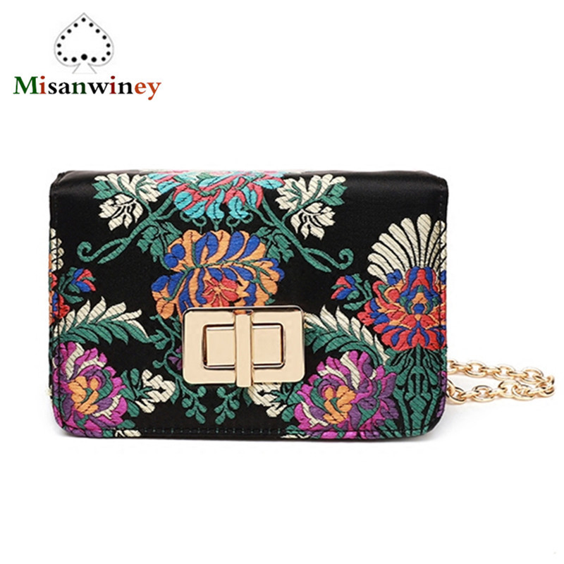 European and American Fashion Flower Embroidery Women Bag Mini Chain Shoulder Messenger Bag Casual Lady Flap Clutch Channels flower embroidery flap chain bag