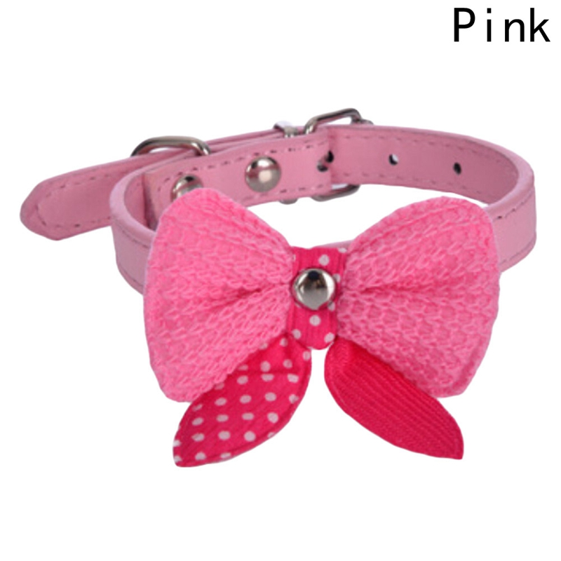 Size XS S M Knit Bowknot Adjustable Leather Dog Puppy Pet Collars Necklace,Collars For Dogs,Cat collar perro