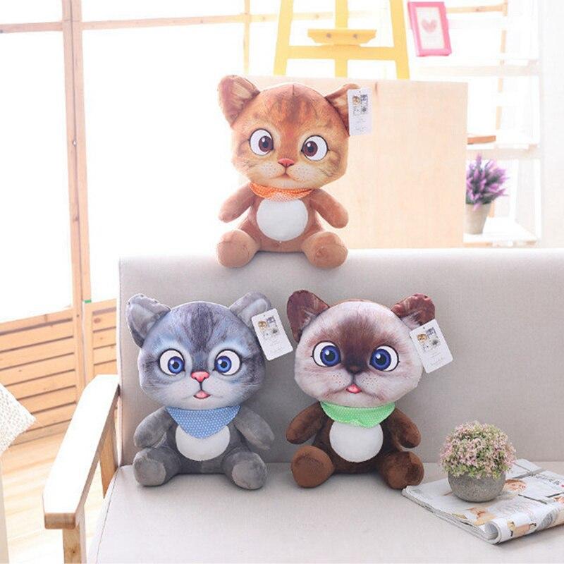20cm mignon doux 3D Simulation peluche chat jouets Double-côté siège canapé oreiller coussin Kawaii en peluche Animal chat poupées jouets cadeaux