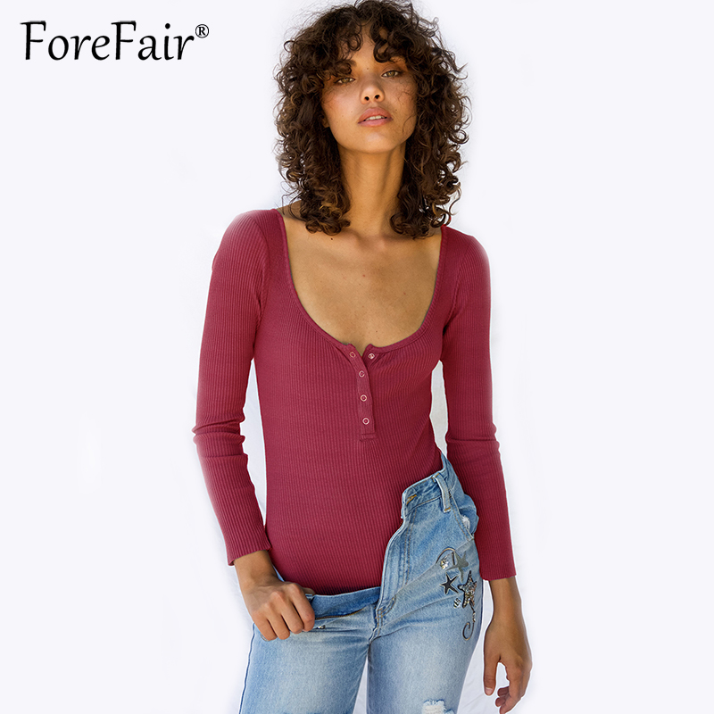 Forefair 2017 New Style Knitted Cotton Bodysuit Women Autumn Winter Long Sleeve Jumpsuit Rompers Sexy Skinny