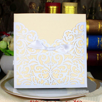 30pcs Pack Hot Favors Decorative Party Supply Laser Cut Folding White Engagement Wedding Party Event Invitation