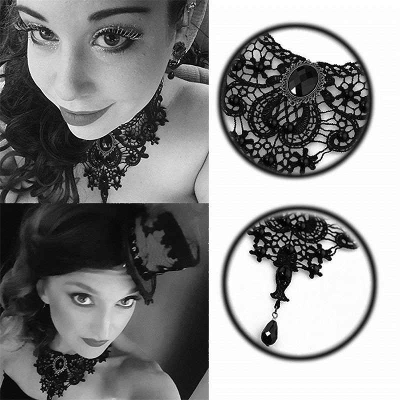 YiYaoFa בעבודת יד מוגזמת תכשיטי סט תכשיטים גותיים שחור תחרה שרשרת & עגיל נשים אביזרי מפלגה תכשיטי FYS-02