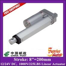 Бесплатная Доставка 12 В линейный привод с 200 мм/8 дюймов хода 225фунта/1000N/100kgs толчок нагрузки линейный привод