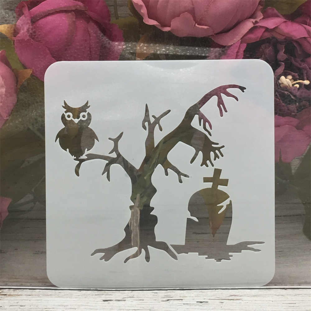 13*13cm Ghost Tree Owl Tomb Halloween DIY Layering Stencils Painting Scrapbook Coloring Embossing Album Decorative Template