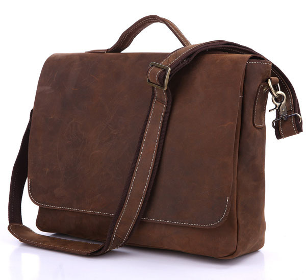 Nesitu High Quality Vintage Real Crazy Horse Leather Genuine Leather Men Messenger Bags 14 inch Laptop Briefcase #M7108