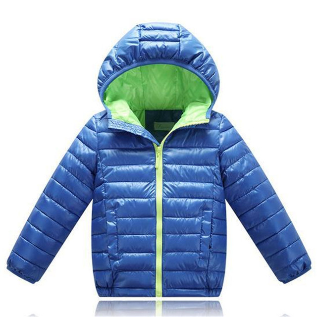 Boy Winter Hooded Coats  New 2016 Fashion Candy Solid Lightweight Warm Outwear Down & Parkas Children's Boys Clothing