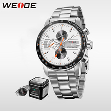 WEIDE 2017 Hot  Men Watches Top Brand Luxury Men Sports Men Analog Watch Waterproof Japan Movt Quartz  Stainless Steel  Clock