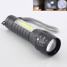 LED Torches Zoom Flashlight Q5 COB Lamp Portable USB Rechargeable LED Mini Flash Light for Camping Lighting 4 Modes Work Light