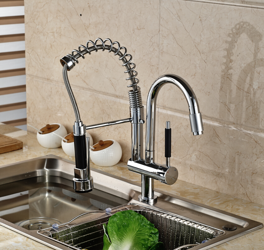 Deck Mount Two Swivel Rotation Spout Kitchen Mixer Faucet Single Handle Water Taps Chrome Finish swivel spout deck mount kitchen spring mixer faucet single handle dual sprayer nozzle water taps chrome finish
