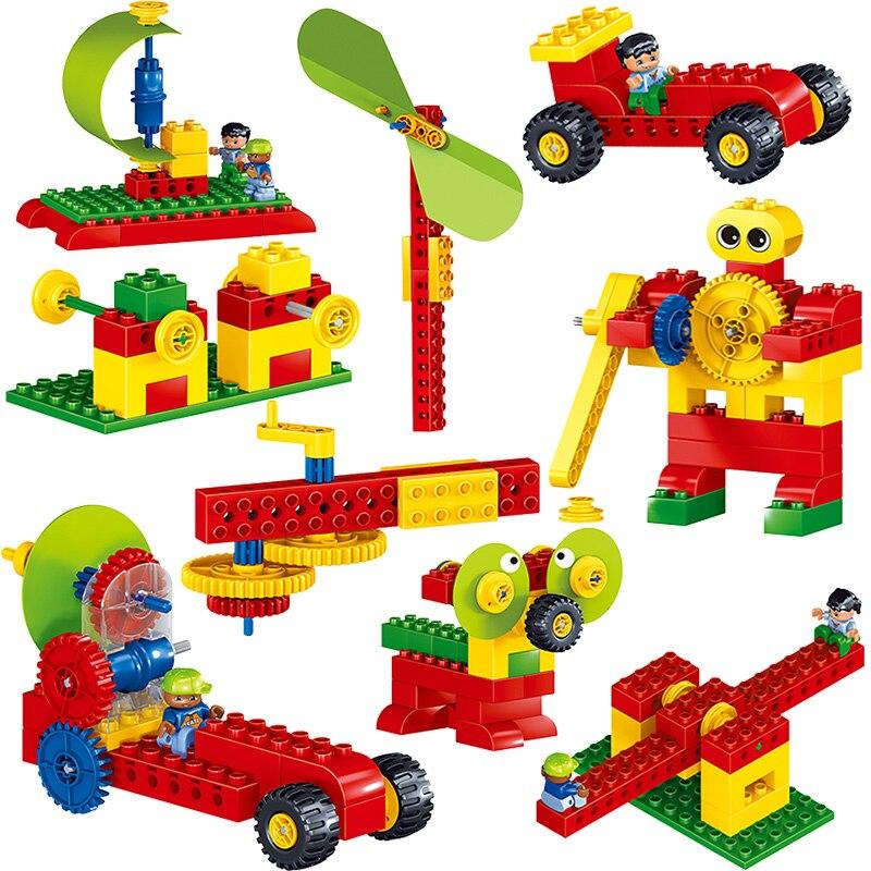 Qunlong 102 pièces blocs éducatifs à grandes particules technologie mécanique jouets bloc de construction blocs compatibles Duploe pour les enfants