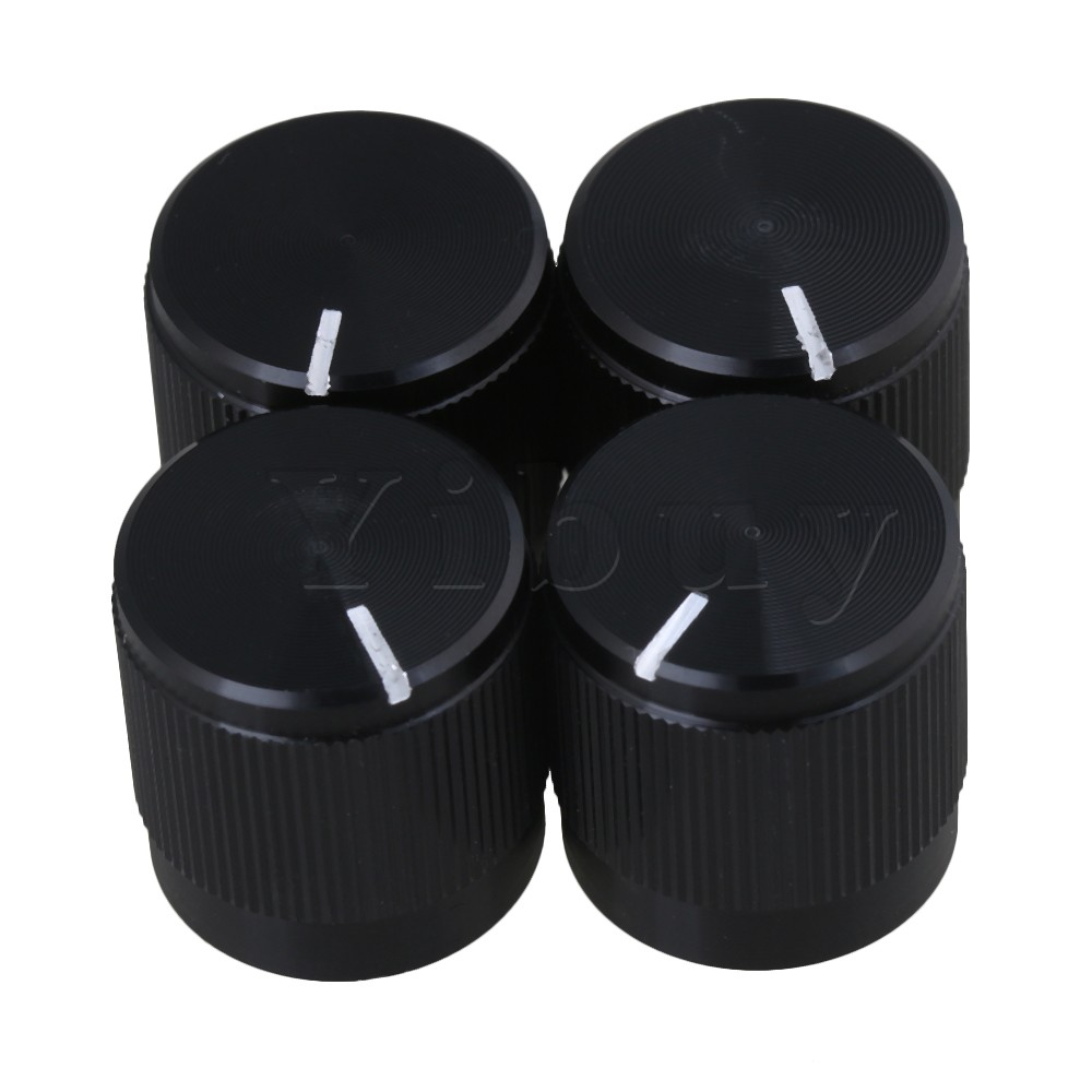 Yibuy Black <font><b>15x15MM</b></font> Aluminum Plastic Pull High-knurled and HIFI Audio Amplifier Potentiometer Knob for 6MM Dia shaft Pack of 4 image