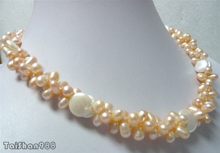 Hot sale Free Shipping>>>Genuine Pink Pearl White Button Coin Pearl 18KWGP Clasp Necklace