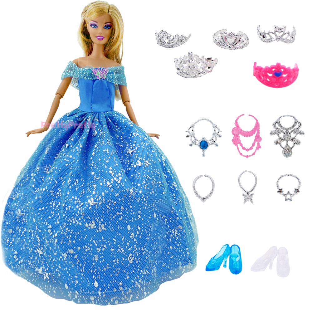 14 pcs Lot Gift Set   1x Princess Cinderella Dress + 13x Accessories Crown  Necklace Shoes Dancing Party Clothes For Barbie Doll 60921266f578