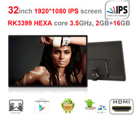 HEXA Core 32 Inch IPS Self Order Kiosk Screen Digital Signage All In One Pc RK3399