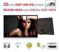 HEXA Core 32 Inch IPS Self Order Kiosk Screen Digital Signage All In One Pc RK3399