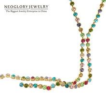 Neoglory Австралийский Кристалл Красочные Длинные цепи бусы кисточкой ожерелья для женщин Девушка Мода Ювелирные изделия Подарки Colf