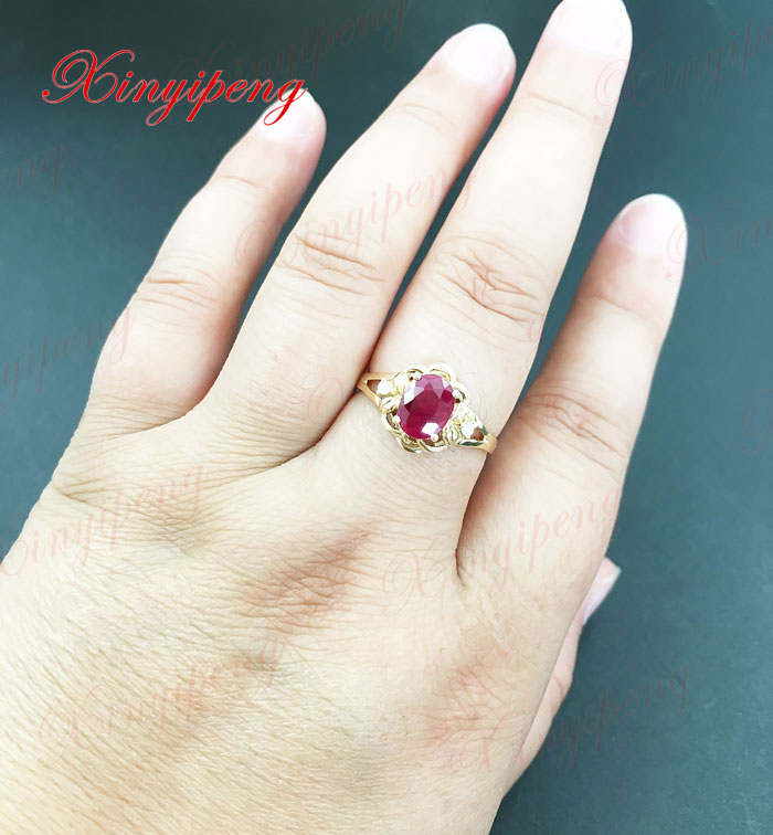 18 Karat Gold eingelegten natürlichen Rubinring Frauen Diamant A - Edlen Schmuck - Foto 6