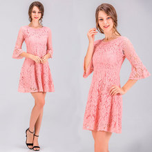 summer horn sleeve lace dress 2019 party korean style elegant pink new arrival short women fashion cheap clothes china
