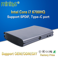 MINISYS Intel Nettop Mini Computer Core kabylake i7 6700HQ Quad Core Barebone Desktop PC with SPDIF Type C Port For Windows 10