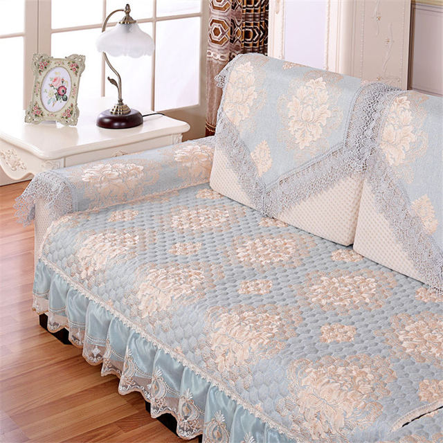 1pc Waterproof Quilted Sofas Cover Lace Printed Luxury Sofa Cover
