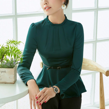 2020 Autumn Long Sleeve Ruffles Peplum Tops Lady Office Work OL Satin Shirts Lady Ruffles Peplum Shirts lady satin Ruffles Tops фото