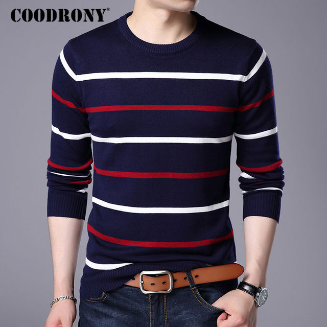 COODRONY O-Neck Pullover Men Sweater 4