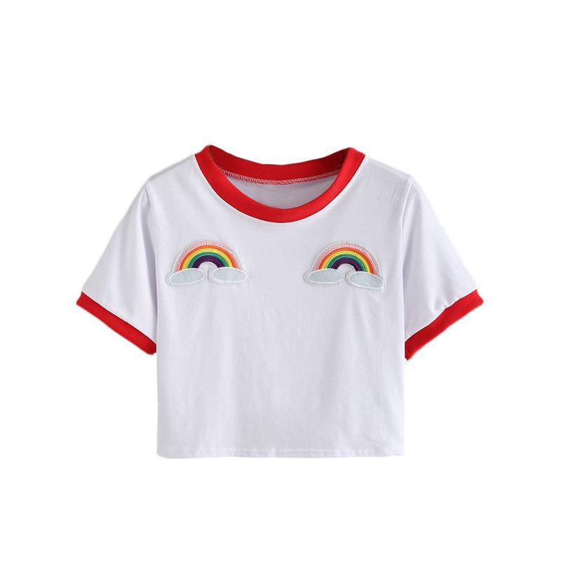 HTB1agIZJFXXXXcDXXXXq6xXFXXX2 - Rainbow Patch Embroidered Crop Tees Summer PTC 128
