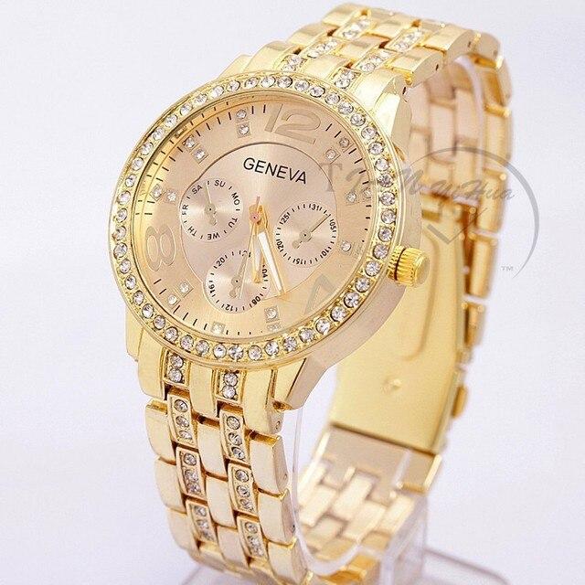 2017 New Famous Brand Women Gold Geneva Stainless Steel Quartz Watch Military Crystal Casual Analog Watches Relogio Feminino Hot