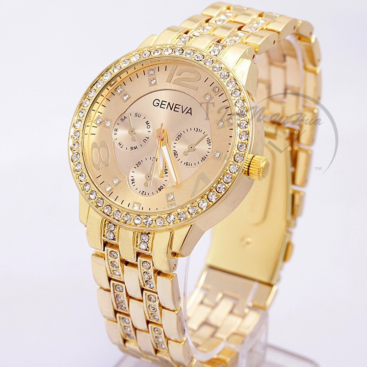 2017 New Famous Brand Women Gold Geneva Stainless Steel Quartz Watch Military Crystal Casual Analog Watches Relogio Feminino Hot