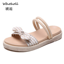 Whoholl Brand New 2019 Womans Slip on Sandals Bow Flat Mule Leopard Linen Hemp Summer Sliders Espadrille Shoes Plus Size 35-40 caged flat sliders