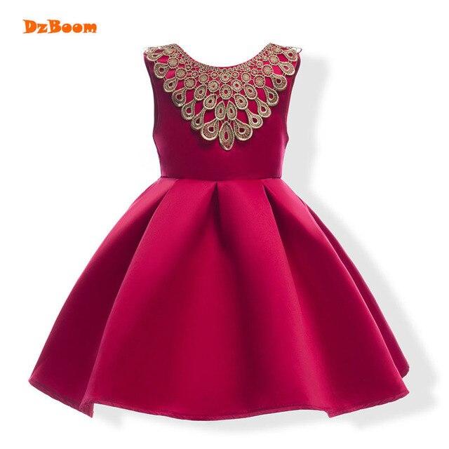 Dzboom элегантный спинки Обувь для девочек свадебное платье летнее платье для девочек без рукавов с милым бантом нарядное платье принцессы Дети Выпускной платье vestidos