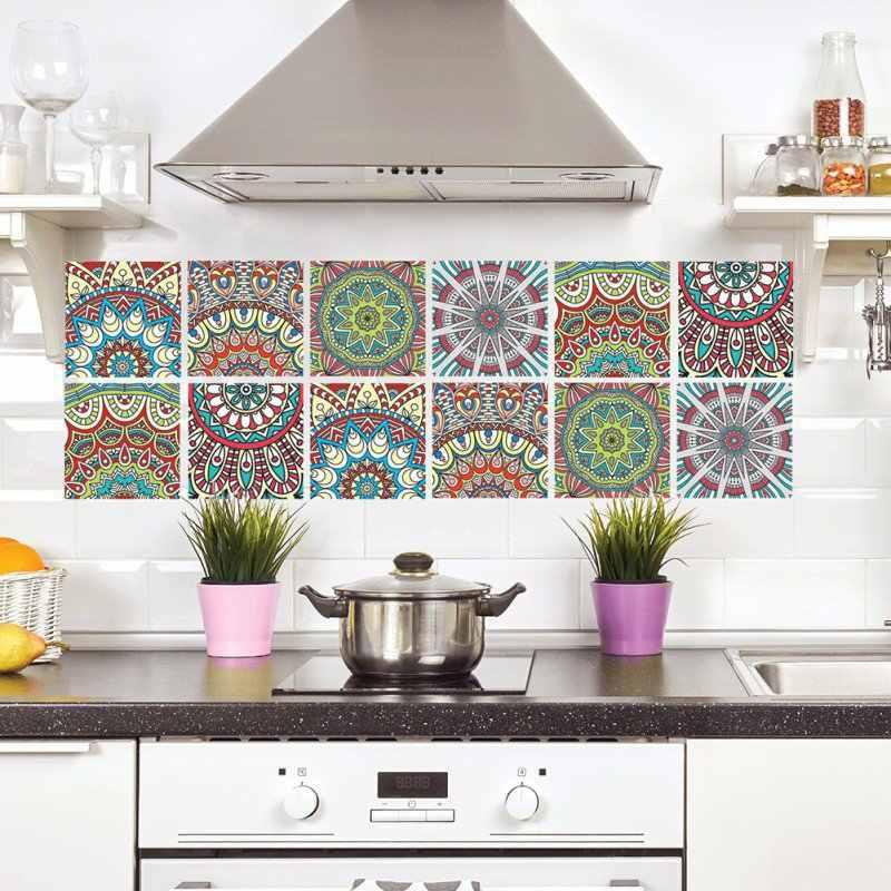 Marokkaanse Stijl DIY Mozaïek Wandtegels Stickers Taille Lijn Muur Sticker Keuken Zelfklevende Badkamer Wc Waterdichte PVC Wallpapers