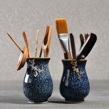 PINNY Chinses Kung Fu Tea Accessories Bamboo Ebony Spoon Silver And Gloden Inlay Ceramic Vase Ceremony