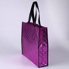 Нетканые металлические хозяйственные сумки, роскошная тканевая сумка, блестящая печать логотипа