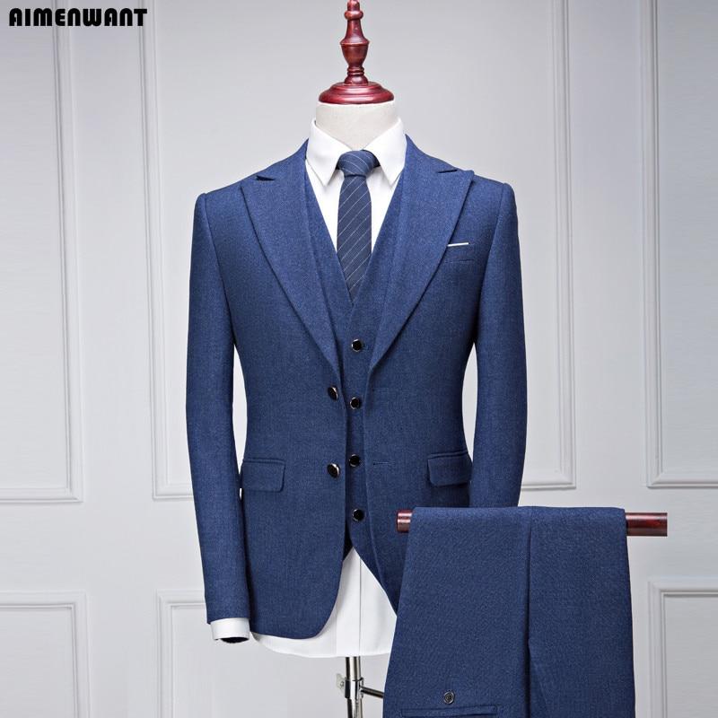 AIMENWANT Suit Sets Male Business Causal Korea Slim Fit Blazer 3 Piece Grooms Man Wedding Wide Collar Suits Jacket+Pants+Vest