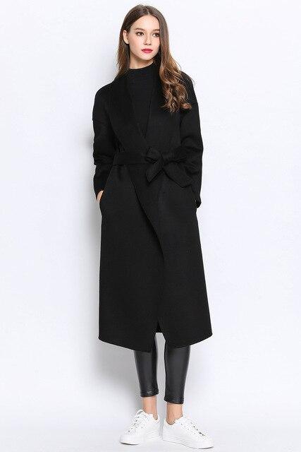 9d89dfc1304 Noir hiver ceinture 100 cachemire laine mélange maxl veste de laine long  manteau pour les femmes