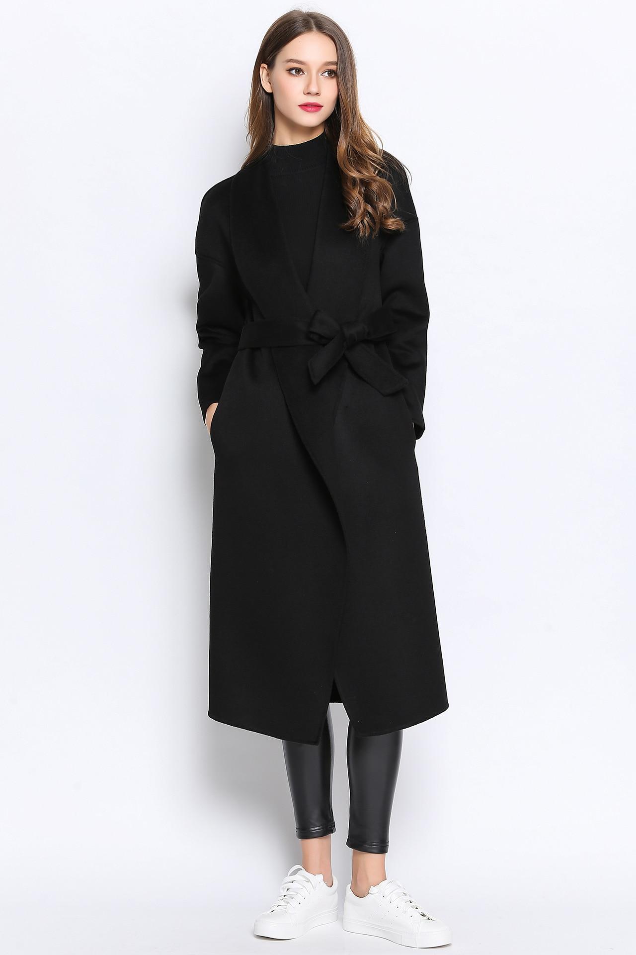 black winter belt 100 cashmere wool blend maxl font b jacket b font woolen long coat