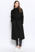 black winter belt 100 cashmere wool blend maxl jacket woolen long coat for women female overcoat casaco feminino manteau femme