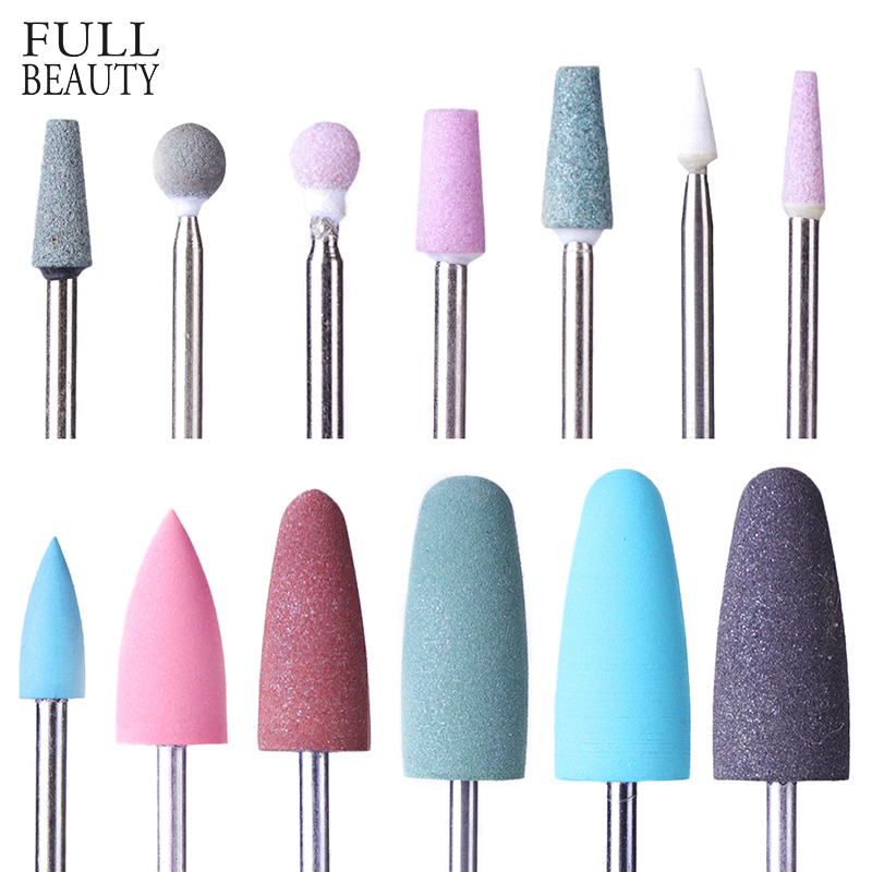 Full Beauty Electric Cutter Manicure Nail Drill Silicone Rubber Ceramic Burr Mills Carbide Pedicure Nail Art Accessories CH065-1