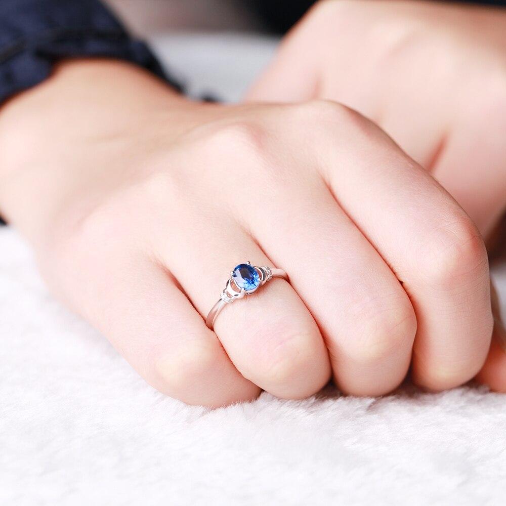 ZOCAI 0.04 CT DIAMOND RING ZODIAC GEM WATER SIGNS BLUE 0.5 CT ...