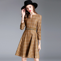 Women Dress 2017 Autumn Cotton 3D Decoration Vestido V Neck Three Quarter Sleeve Office Lady Dresses