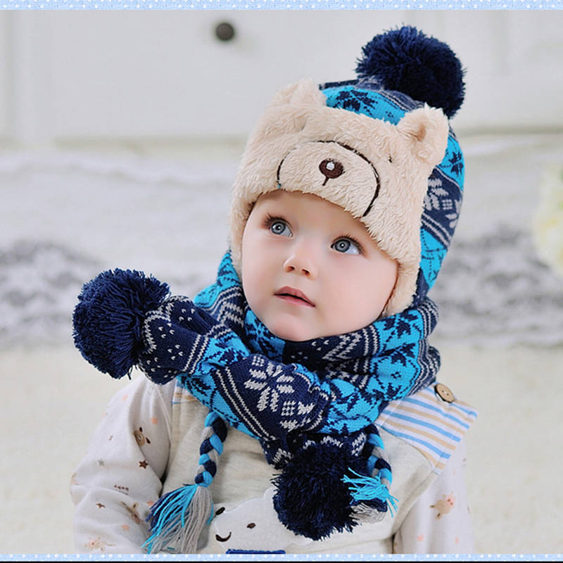 2017 Winter 2pcs Baby Hat Scarf Set Cartoon Bear Infant Knitted Fleece Warm Hat Fashion Hairball Snowflake Caps Kids Beanies Cap