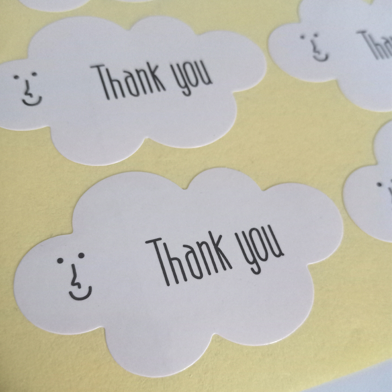 Купить с кэшбэком 160pcs/lot 'Thank you' White Cloud Paper Adhesive DIY Sealing Label Sticker Gift Tags Seal Sticker Decorative Gift Packing Label