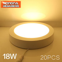 20pcs/Lot Wholesale 18W LED Surface Mounted Panel Light Living Room/Kitchen/Bathroom/Store LED Panel Lighting