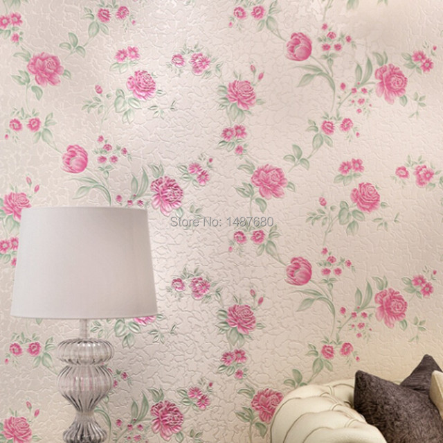 Beibehang Papel De Parede 3D Wall Paper Flower Romantic Floral Flocking Wallpaper  Bedroom Living Room Girls