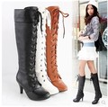 Rivet boots design knee high boots women high-heeled martin boots pointed toe bandage high-leg boots big size 34-43 H048