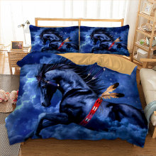 Wongs Bedding 3D blue horse Bedding set polyester Duvet Cover Bed Set Single Twin queen king size drop shipping(China)