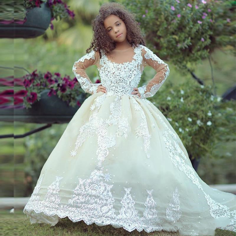 Excellent   Flower     Girl     Dress   For Wedding with Sheer Neck Appliques Full Sleeves Vestidos De Novia Foraml Wears Kids Pageant Gowns