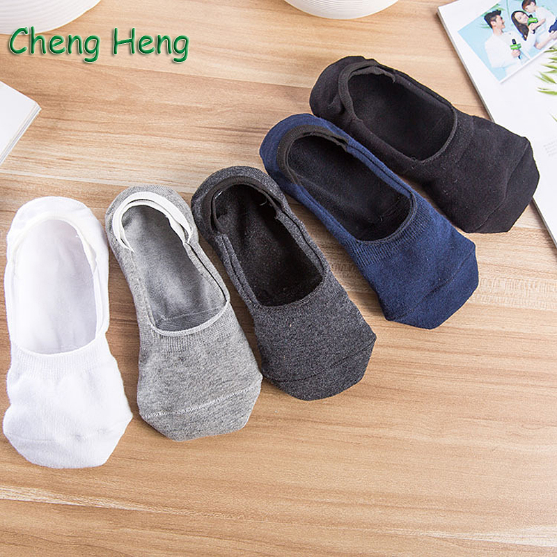 5 Pair/ Lot Fashion New Spring Summer Mens Stealth Cotton Socks Breathable Comfortable Silica Gel Anti-skid Deodorant Boat Sock